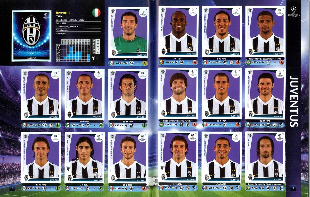 2009-10 - Panini Champions League - Pages 06 et 07 - Juventus Turin