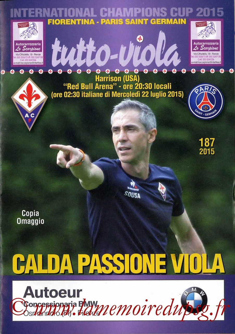 2015-07-21  Fiorentina-PSG (International Champions Cup à Harrison, Programme officiel)