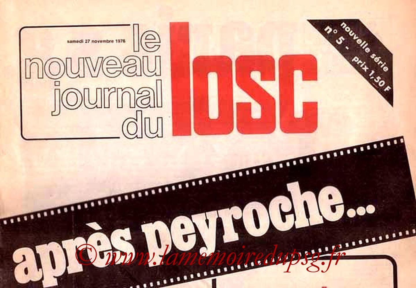 1976-11-27  Lille-PSG (16ème D1, Le nouveau journal du LOSC N°5)