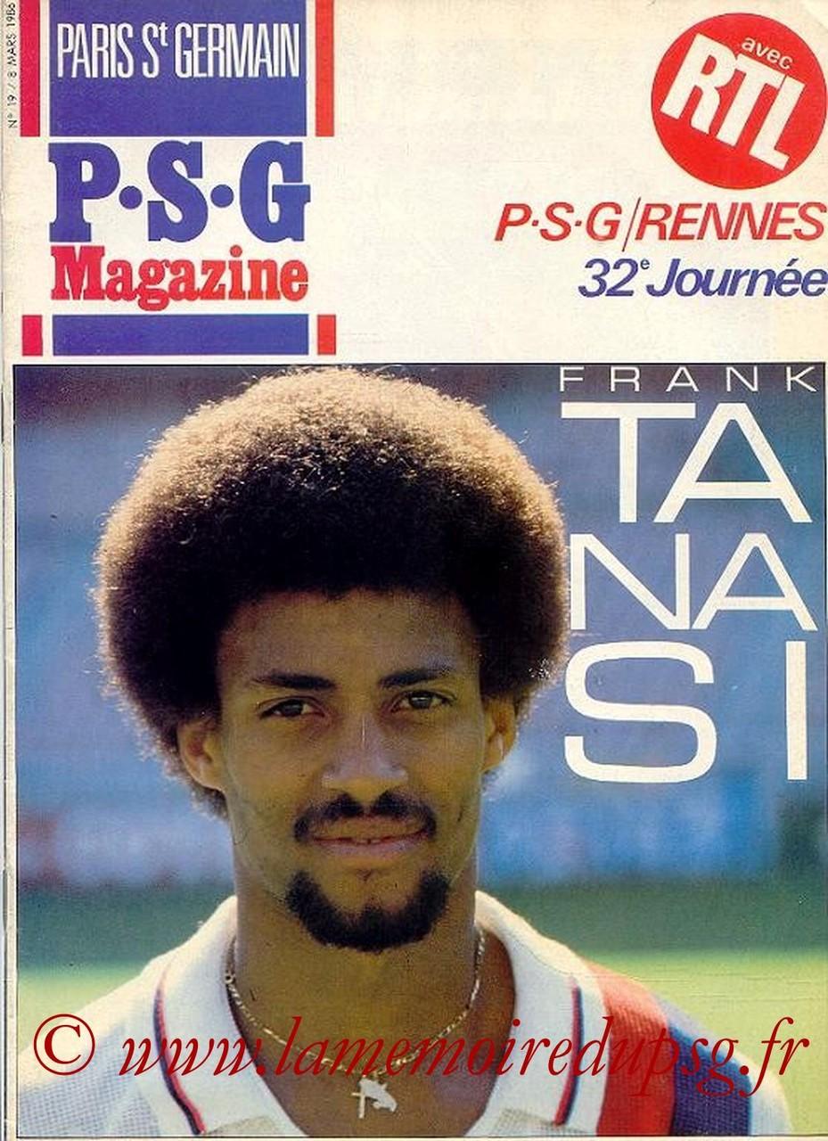 1986-03-08  PSG-Rennes (32ème D1, Paris St Germain Magazine N°19)