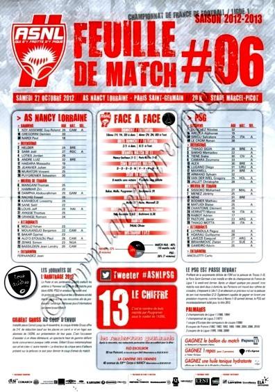 2012-10-27  Nancy-PSG (10ème Journée, Feuille de Match N°6)