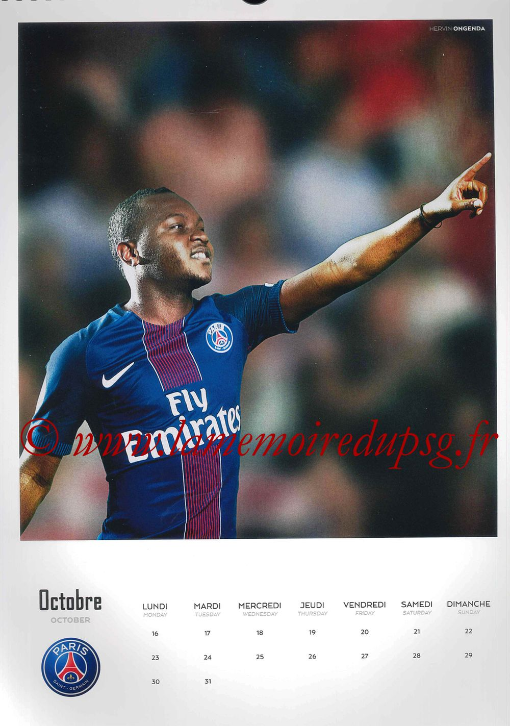 Calendrier PSG 2017 - Page 20 - Hervin ONGENDA