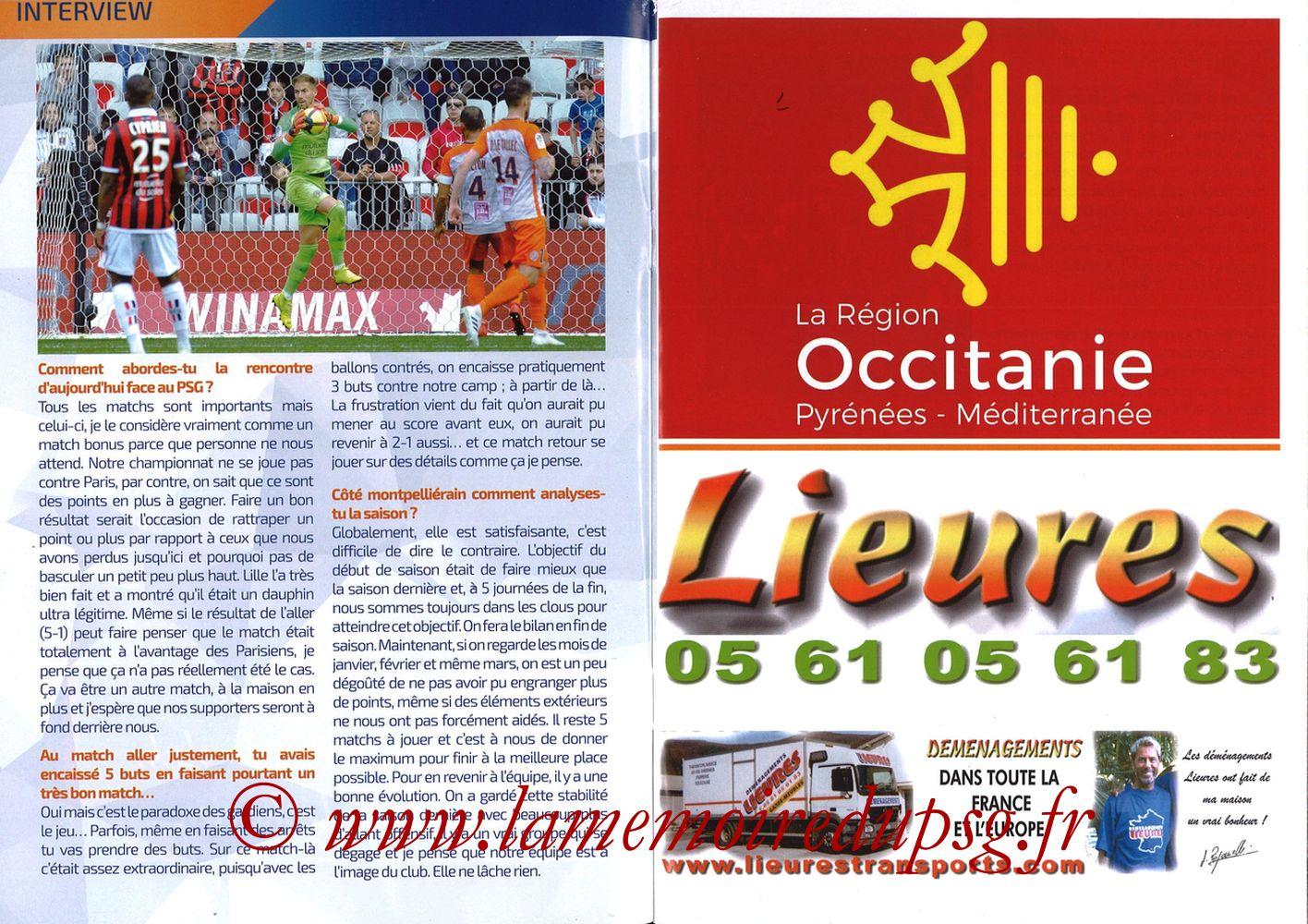 2019-04-30  Montpellier-PSG (34ème L1, L'Echo de la Mosson N°17) - Pages 04 et 05