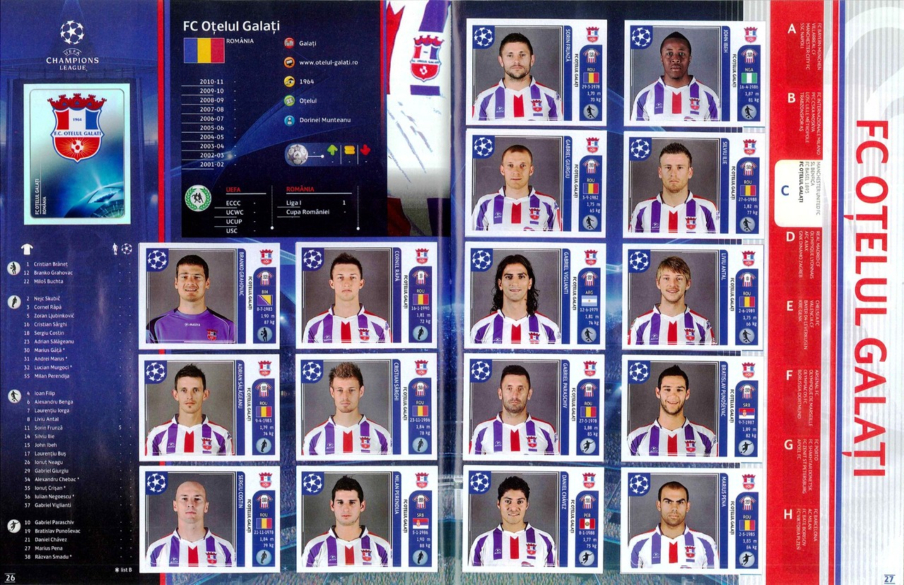 2011-12 - Panini Champions League - Pages 26 et 27 - FC Otelul Galati