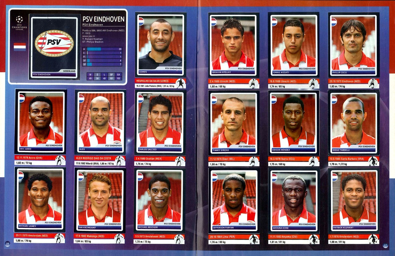 2006-07 - Panini Champions League - Pages 26 et 27 - PSV Eindhoven