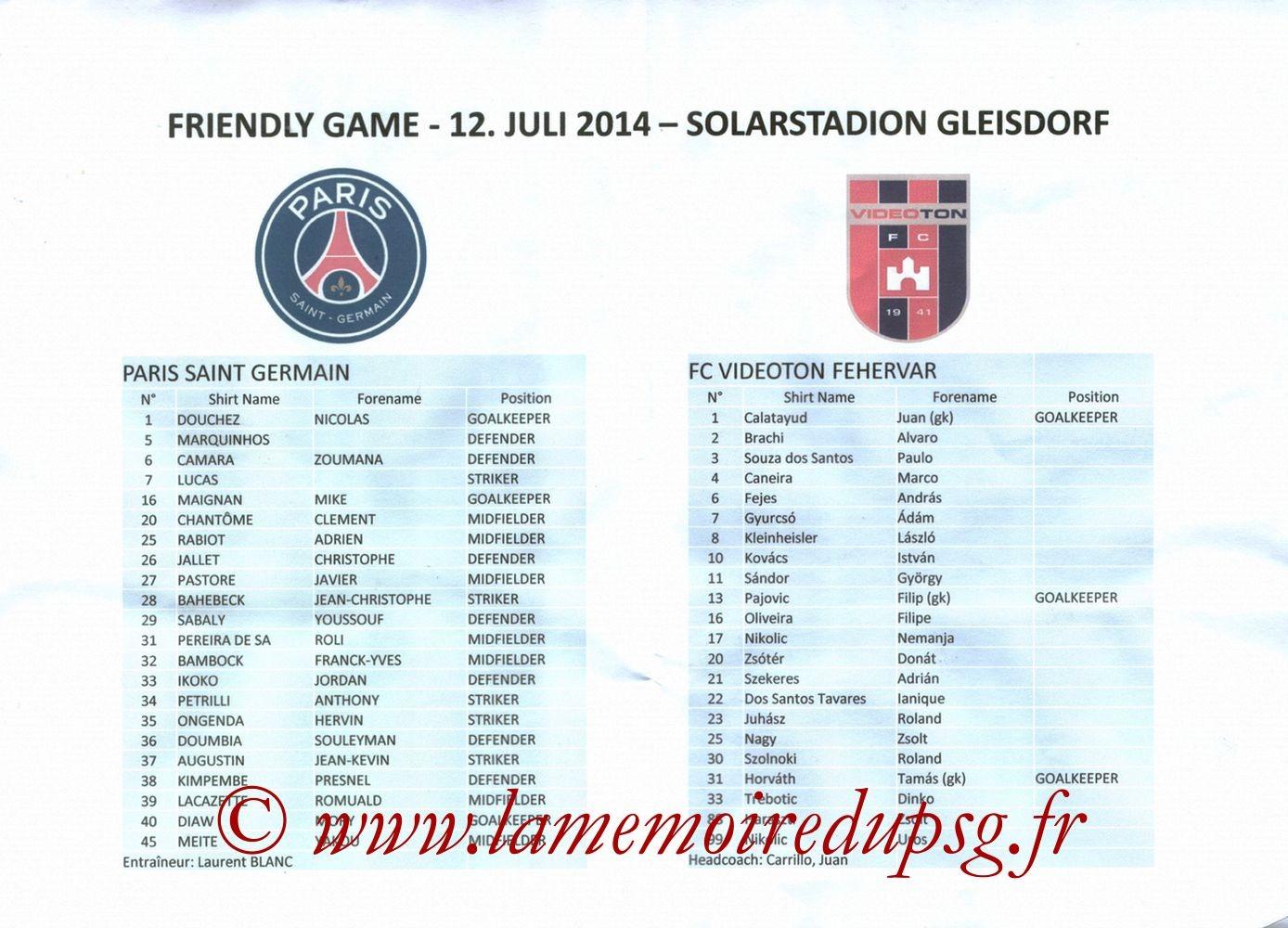 2014-07-12  Videoton-PSG (Amical à Gleisdorf, Feuille de match)