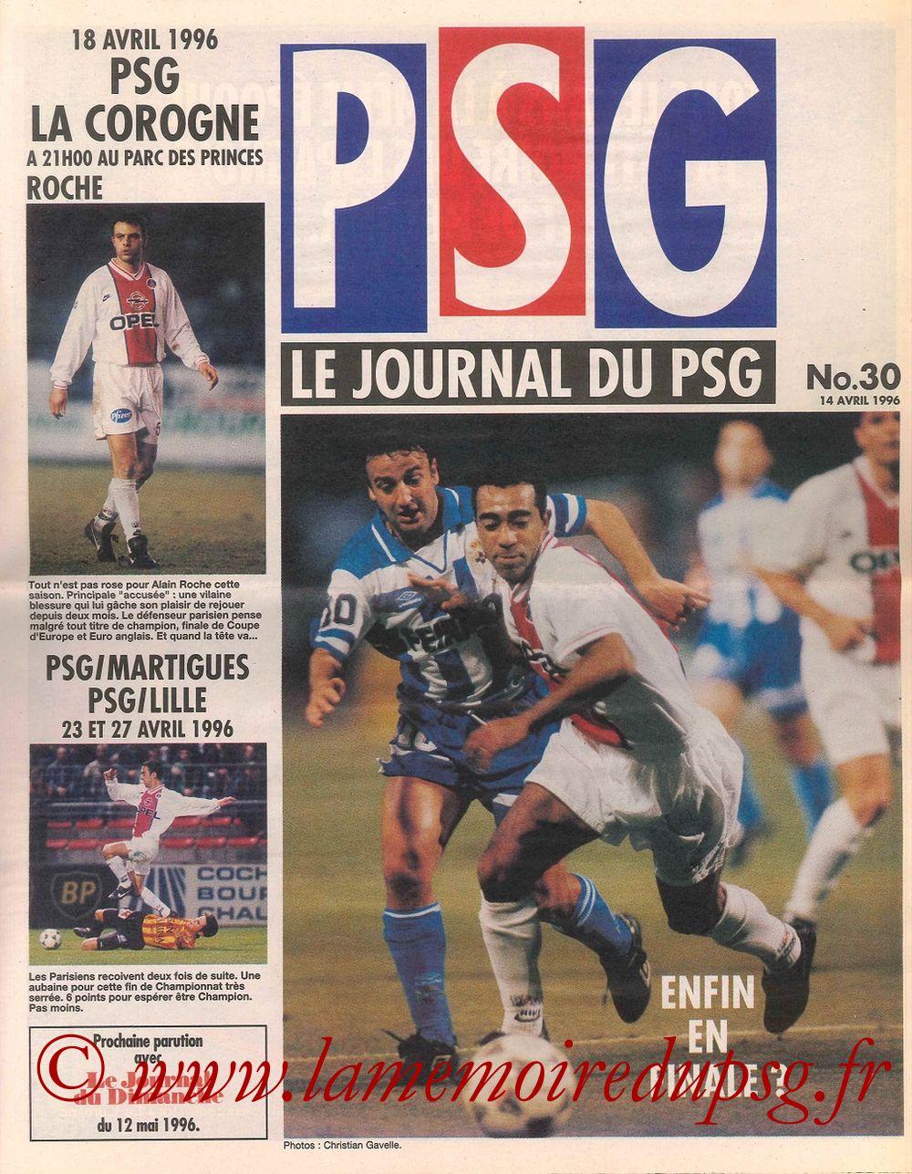 1996-04-18  PSG-La Corogne (Demi Finale Retour C2, Le Journal du PSG N°30)