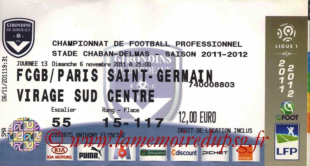 Ticket  Bordeaux-PSG  2011-12