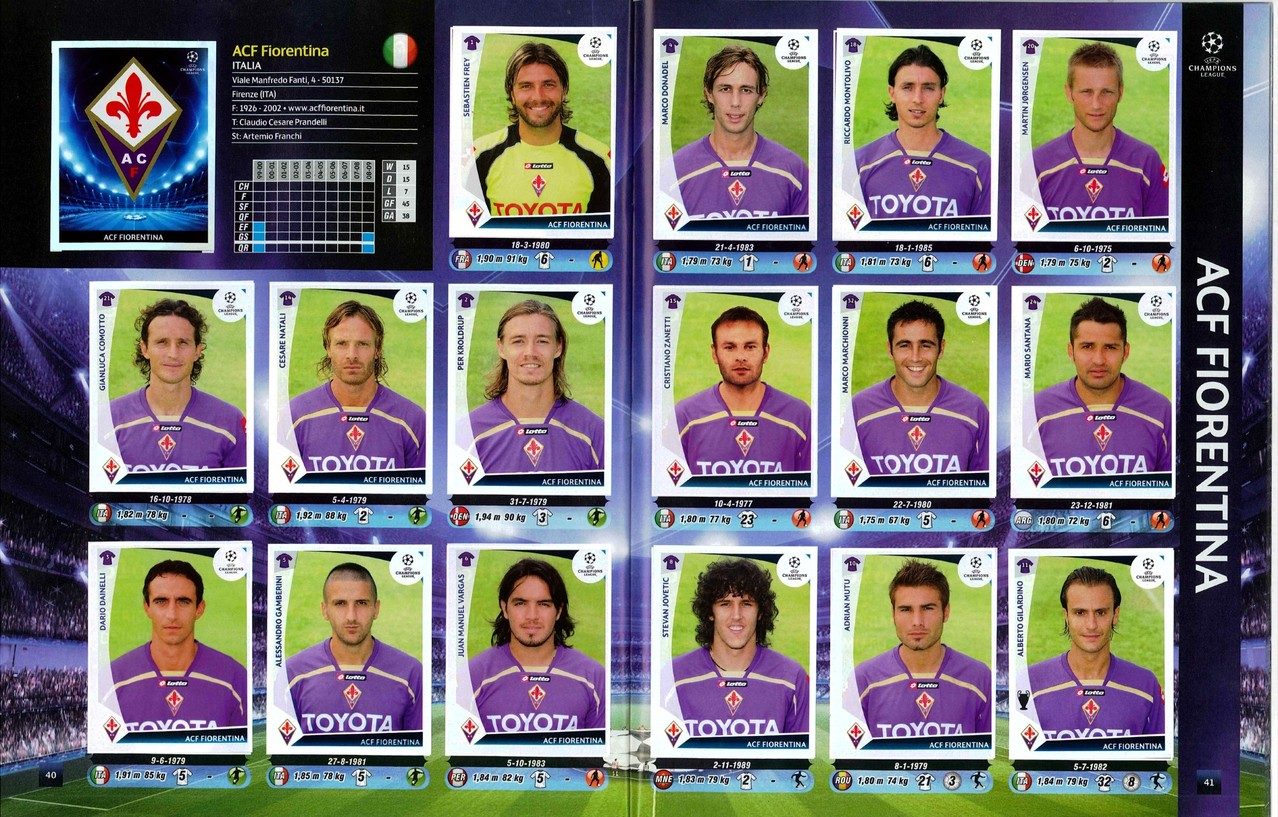 2009-10 - Panini Champions League - Pages 40 et 41 - AC Fiorentina