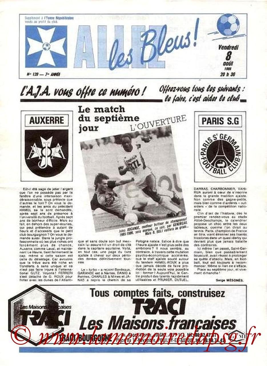 1986-08-08  Auxerre-PSG (2ème D1, Allez les bleus N°120)