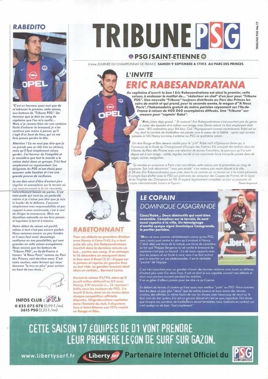 2000-09-09  PSG-Saint Etienne (7ème D1, Tribune PSG N°17, vrai numero N°16)