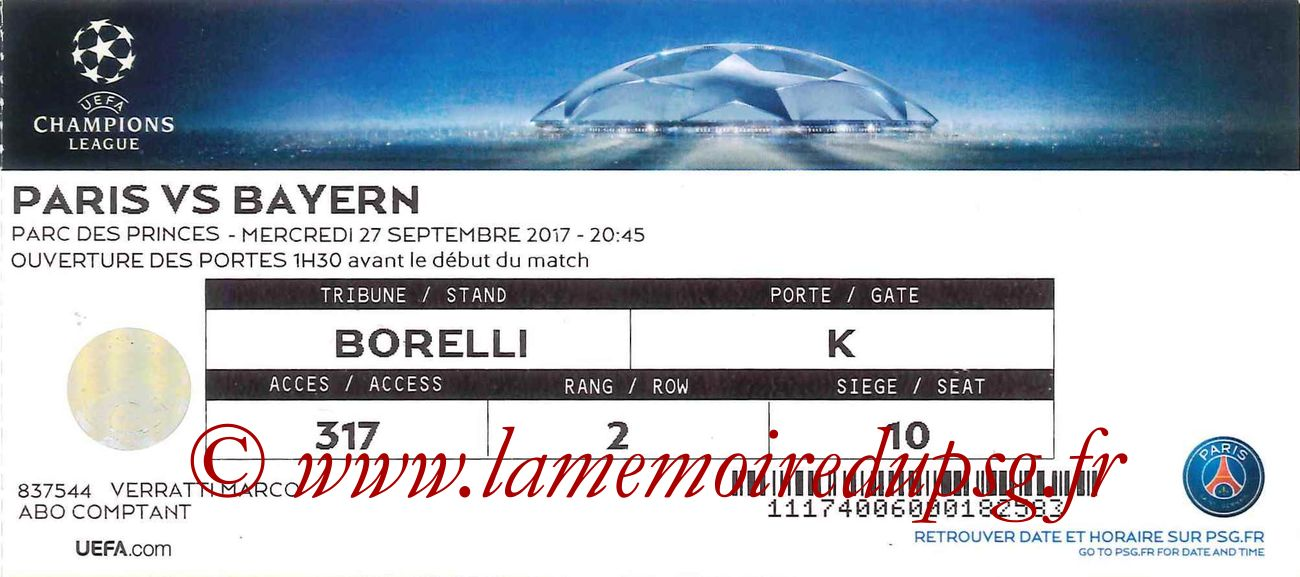 2017-09-27  PSG-Bayern (2ème C1)