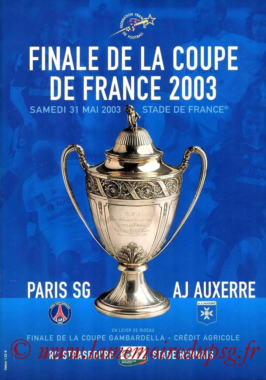 2003-05-31  PSG-Auxerre (Finale CF au Stade de France, Programme officiel FFF)