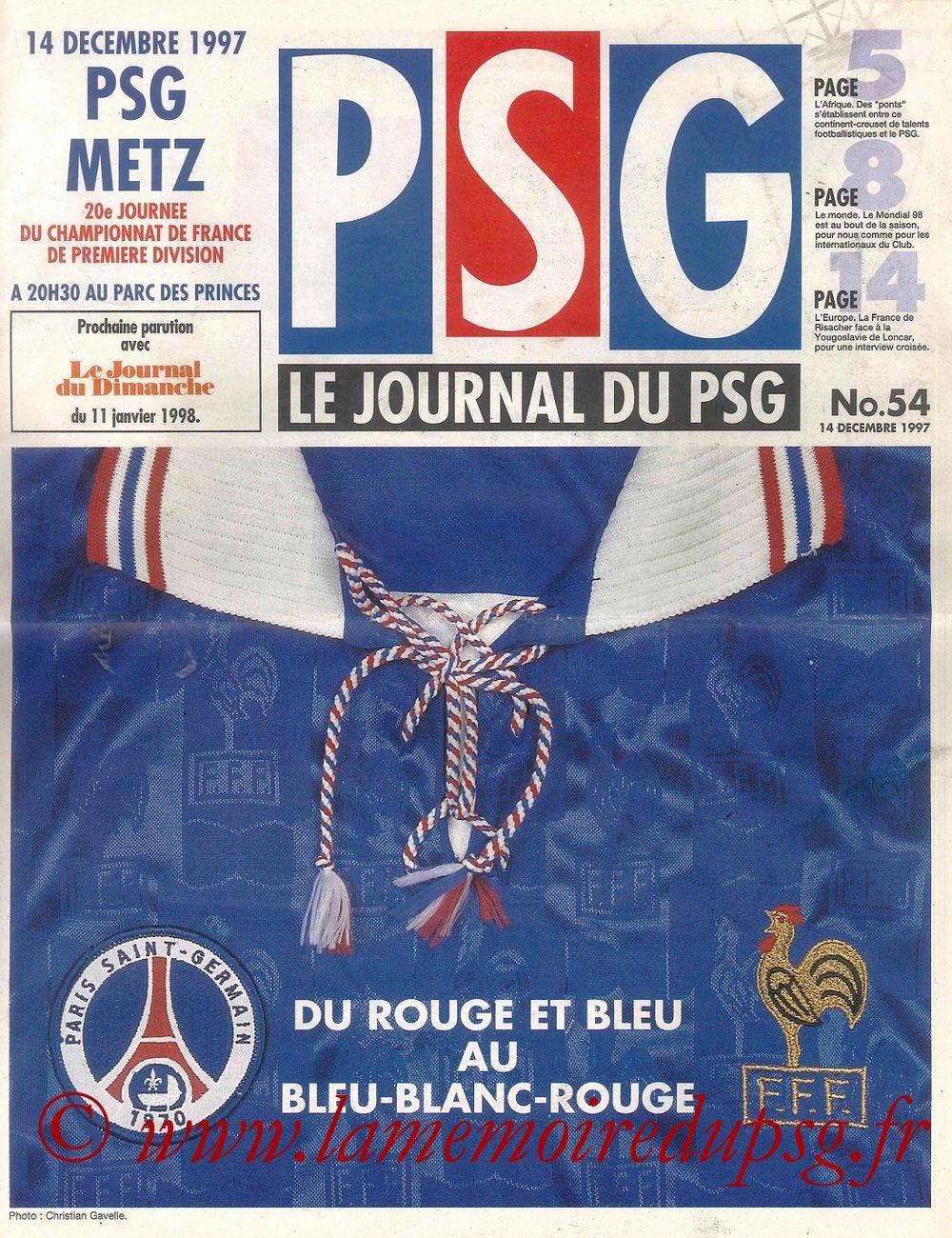 1997-12-14  PSG-Metz (20ème D1, Le Journal du PSG N°54)