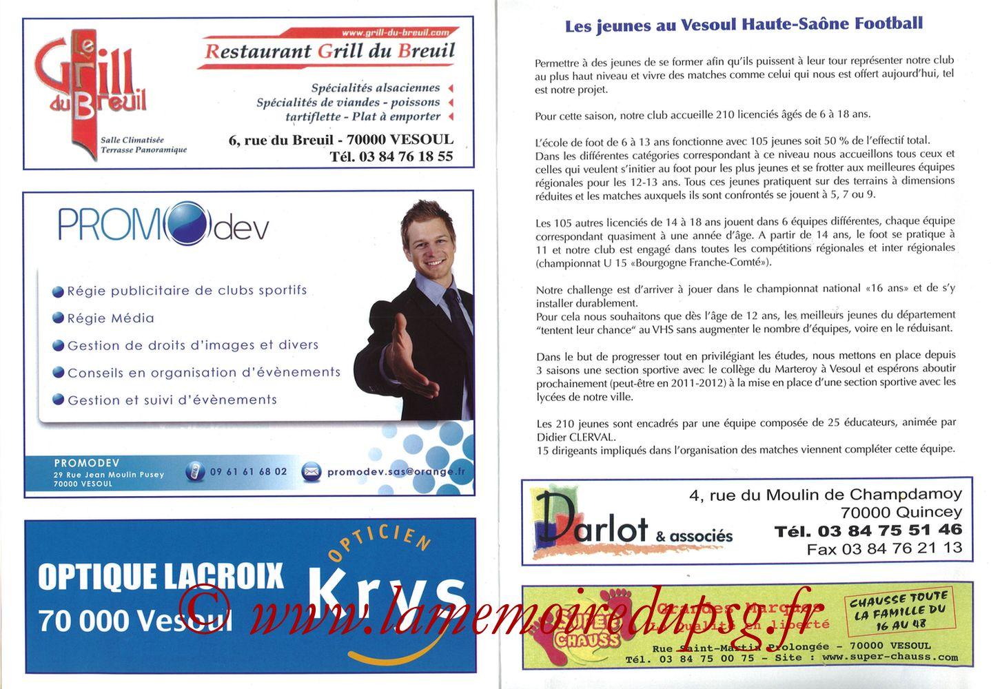 2010-02-09  Vesoul-PSG (8ème CF, Programme officiel) - Pages 10 et 11