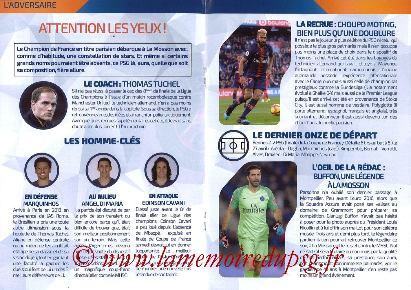 2019-04-30  Montpellier-PSG (34ème L1, L'Echo de la Mosson N°17) - Pages 16 et 17