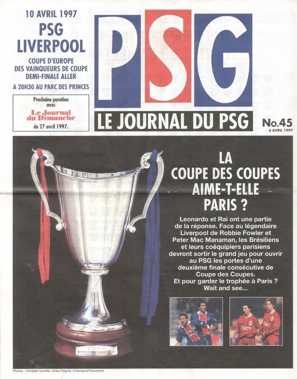 1997-04-10  PSG-Liverpool (Demi-Finale Aller C2, Le Journal du PSG N°45)