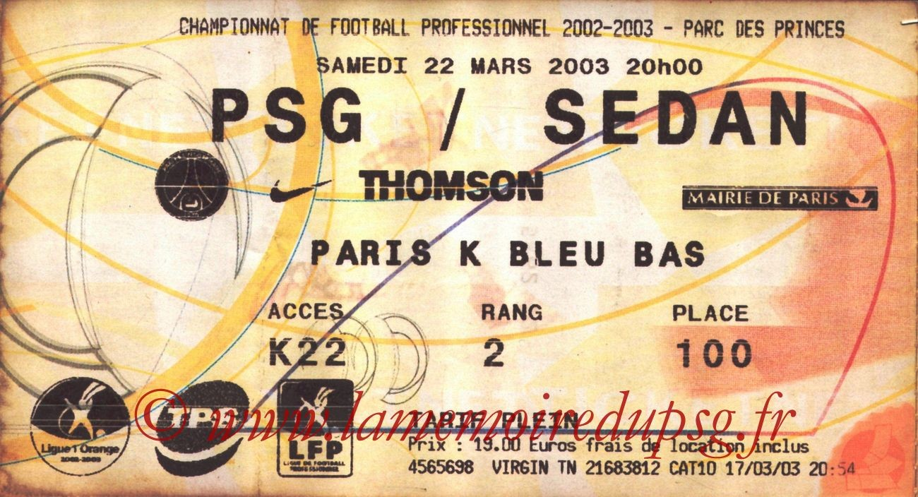 2003-03-22  PSG-Sedan (31ème L1, Ticketnet)