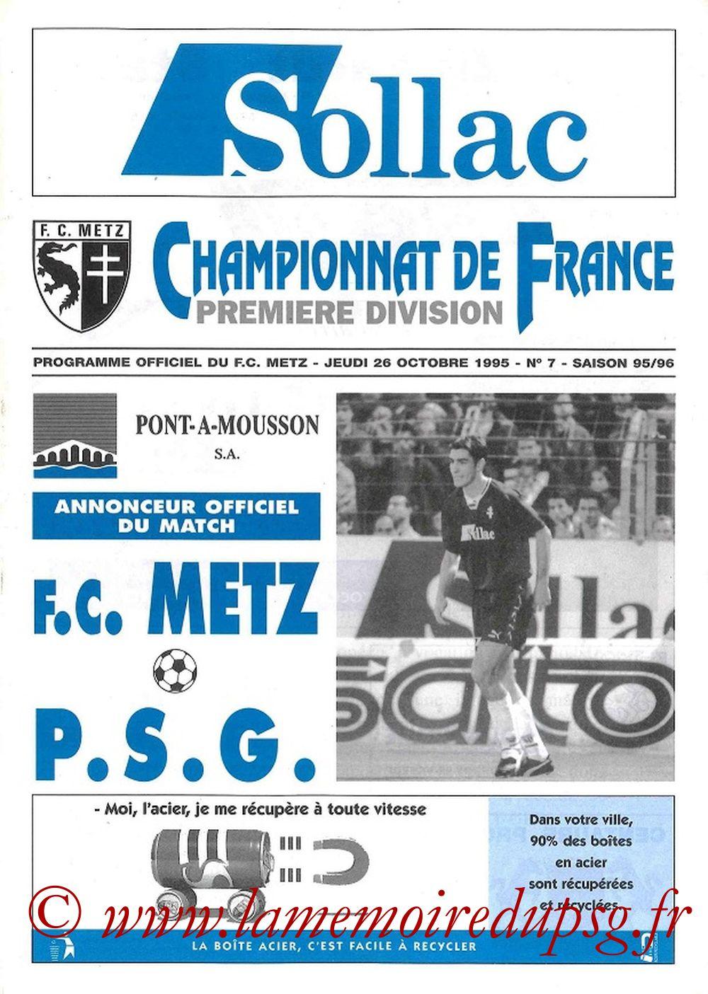 1995-10-26  Metz-PSG (15ème D1, Programme officiel N°7)