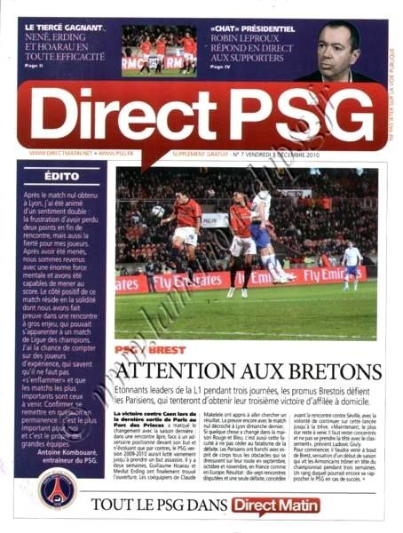 2010-12-05  PSG-Brest (16ème L1, Direct PSG N°7)