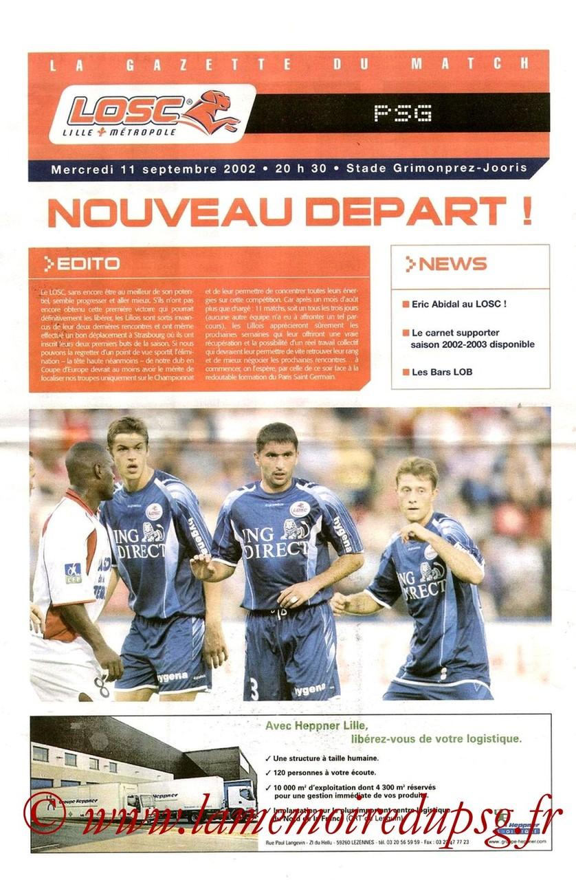 2002-09-11  Lille-PSG (6ème D1, La gazette du match)