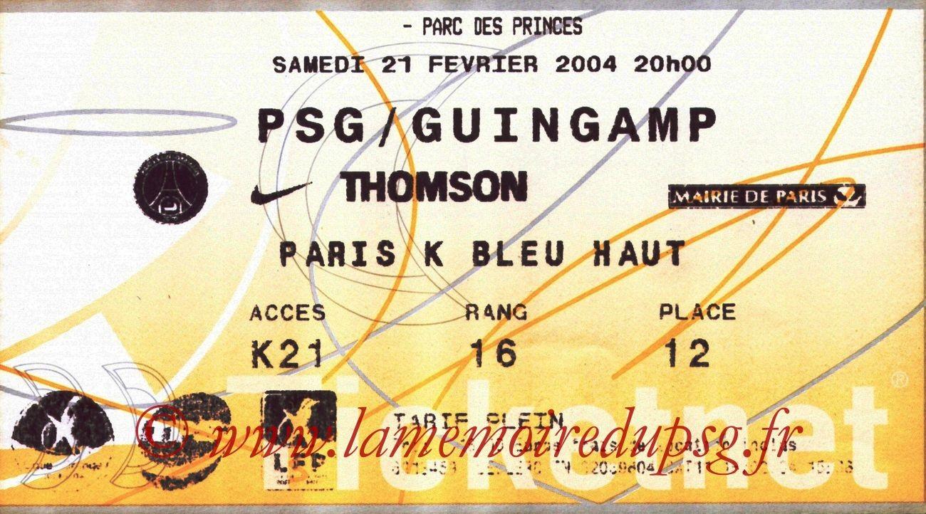 2004-02-21   PSG-Guingamp (25ème L1, Ticketnet)