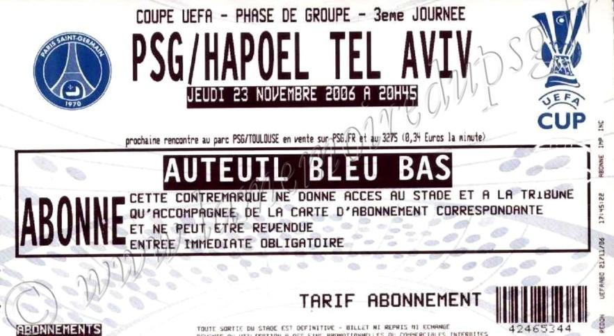 2006-11-23  PSG-Hapoel Tel Aviv (3ème journée poule C3)