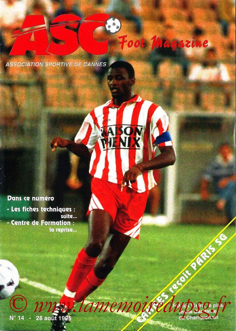 1995-08-29  Cannes-PSG (7ème D1, ASC Foot Magazine N°14)