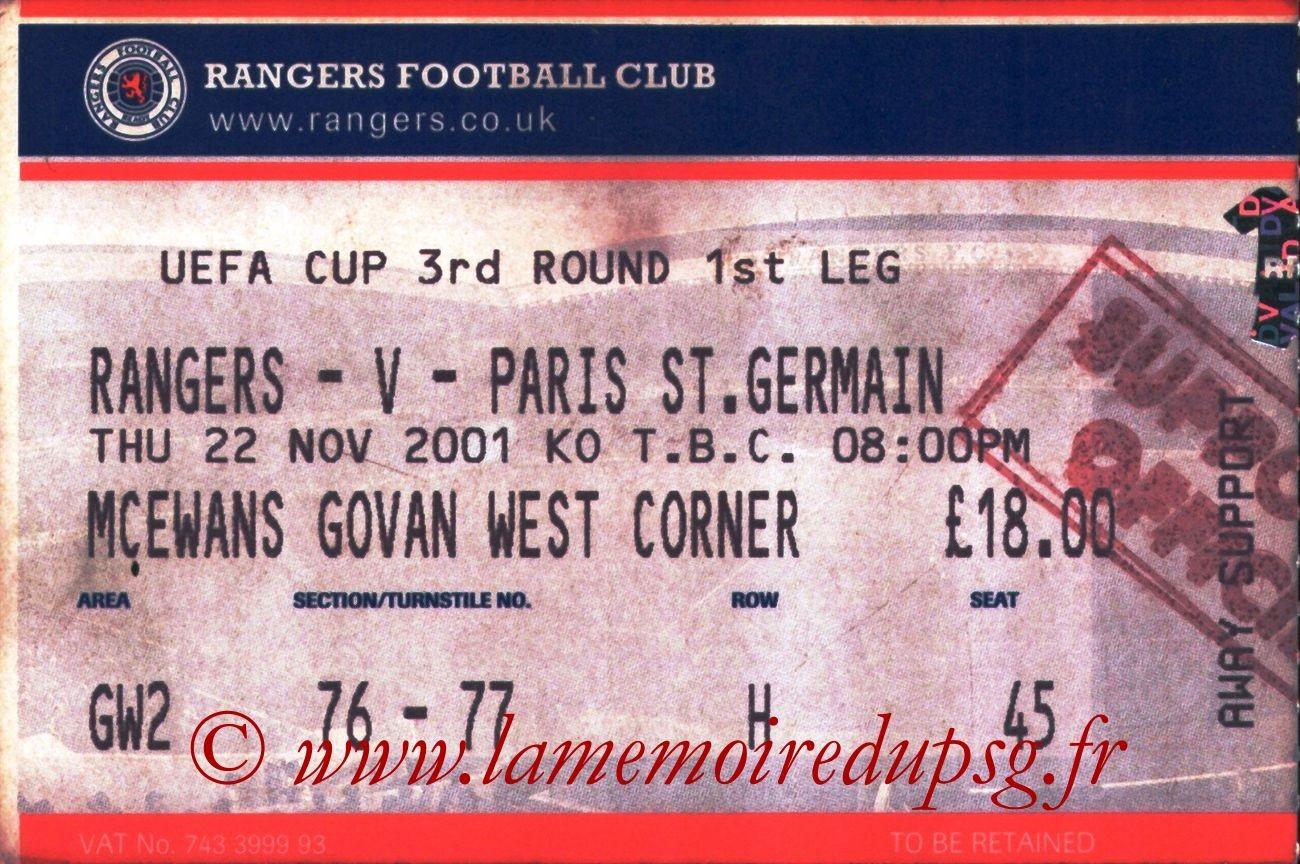 2001-11-22  Glasgow Rangers-PSG (16ème Finale Aller C3)