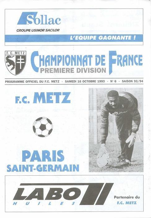 1993-10-16  Metz-PSG (13ème D1, Programme Officiel N° 6)