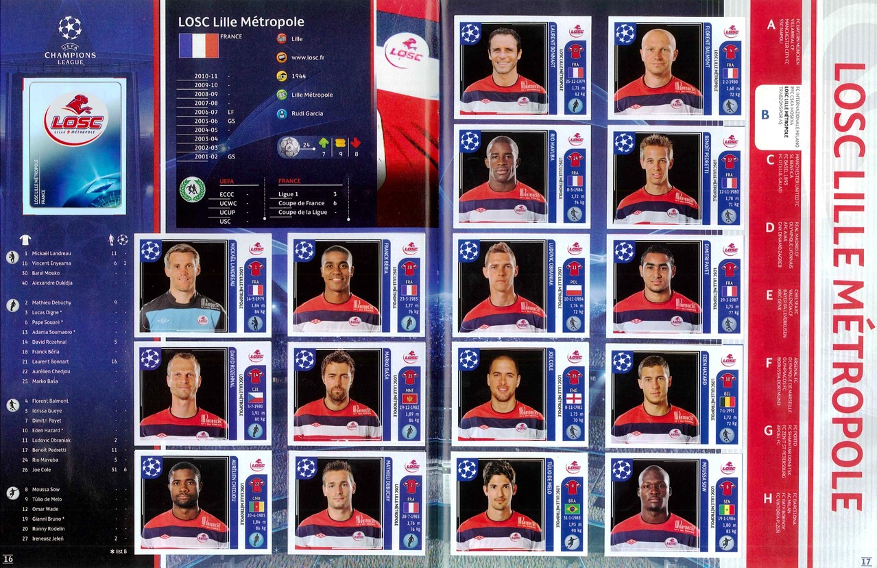 2011-12 - Panini Champions League - Pages 16 et 17 - Lille OSC