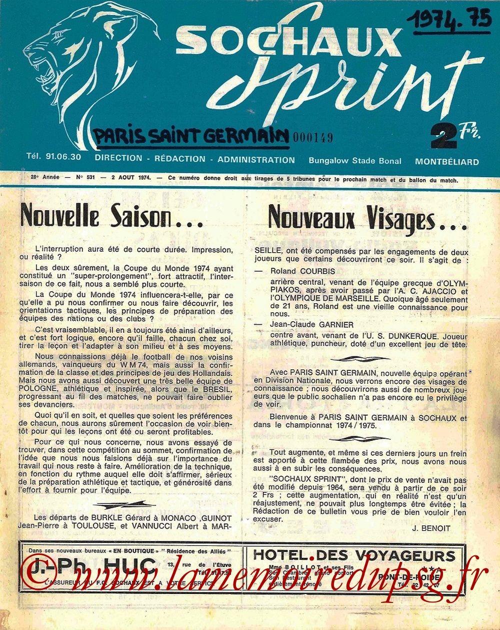 1974-08-02  Sochaux-PSG (1ère D1, Sochaux Sprint N°531)
