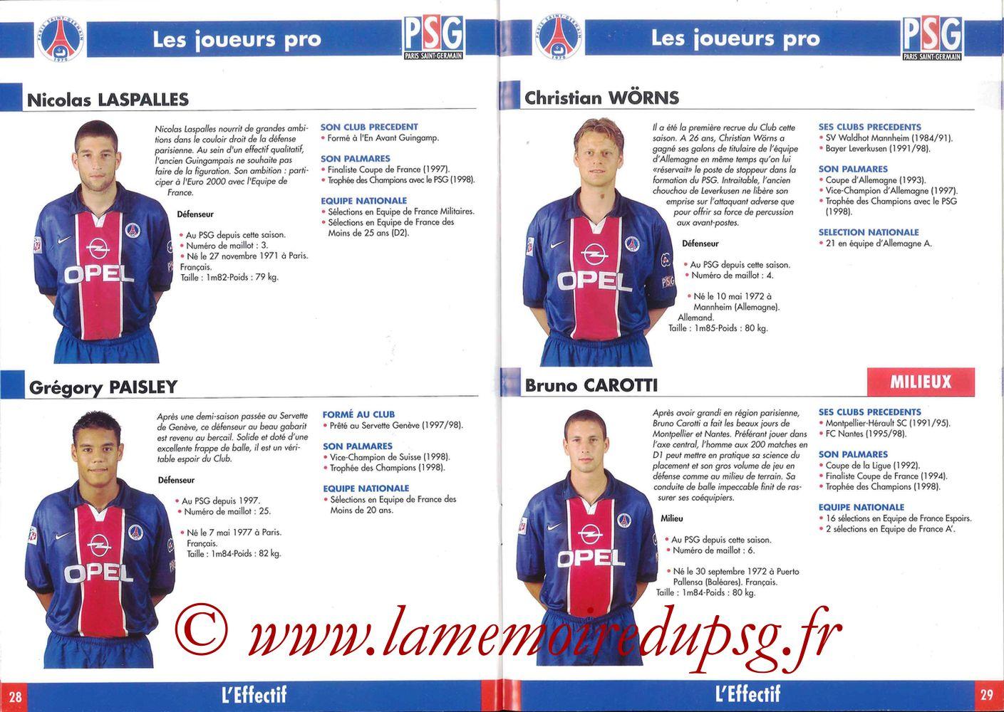 1998-99 - Guide de la Saison PSG - Pages 28 et 29