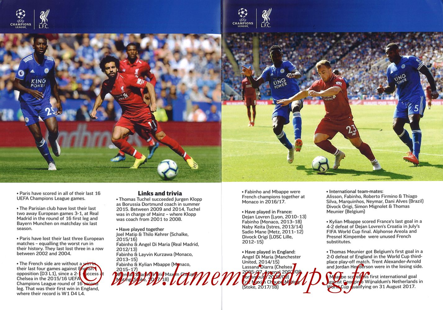 2018-09-18  Liverpool-PSG (1ère C1, Programme pirate) - Pages 04 et 05