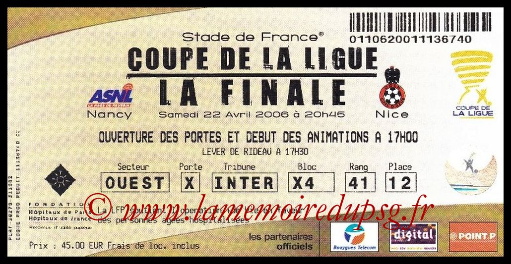 Ticket Finale CL N° 12 - 2006-04-22 - Nancy-Nice (Stade de France)