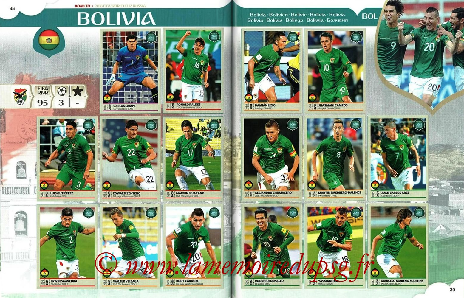 2018 - Panini Road to FIFA World Cup Russia Stickers - Pages 38 et 39 - Bolivie