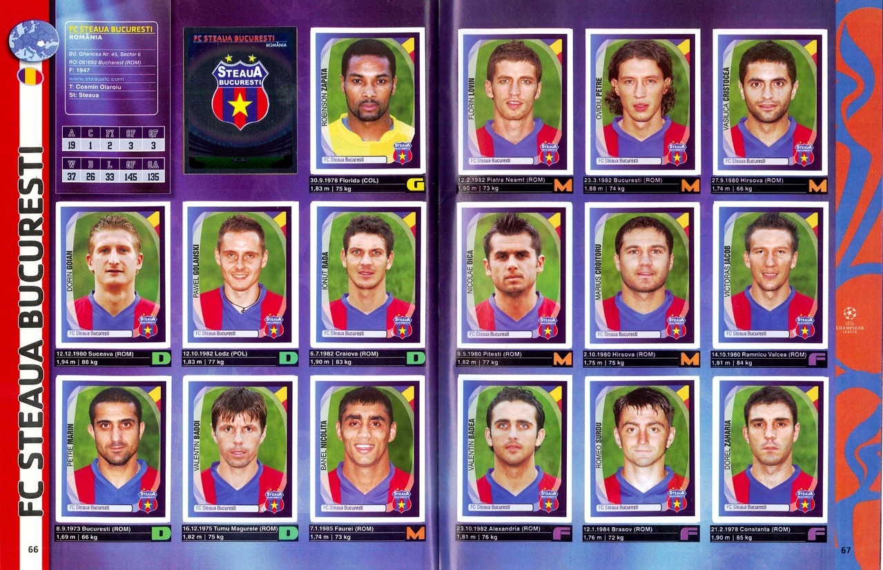 2007-08 - Panini Champions League - Pages 66 et 67 - FC Steaua Bucarest