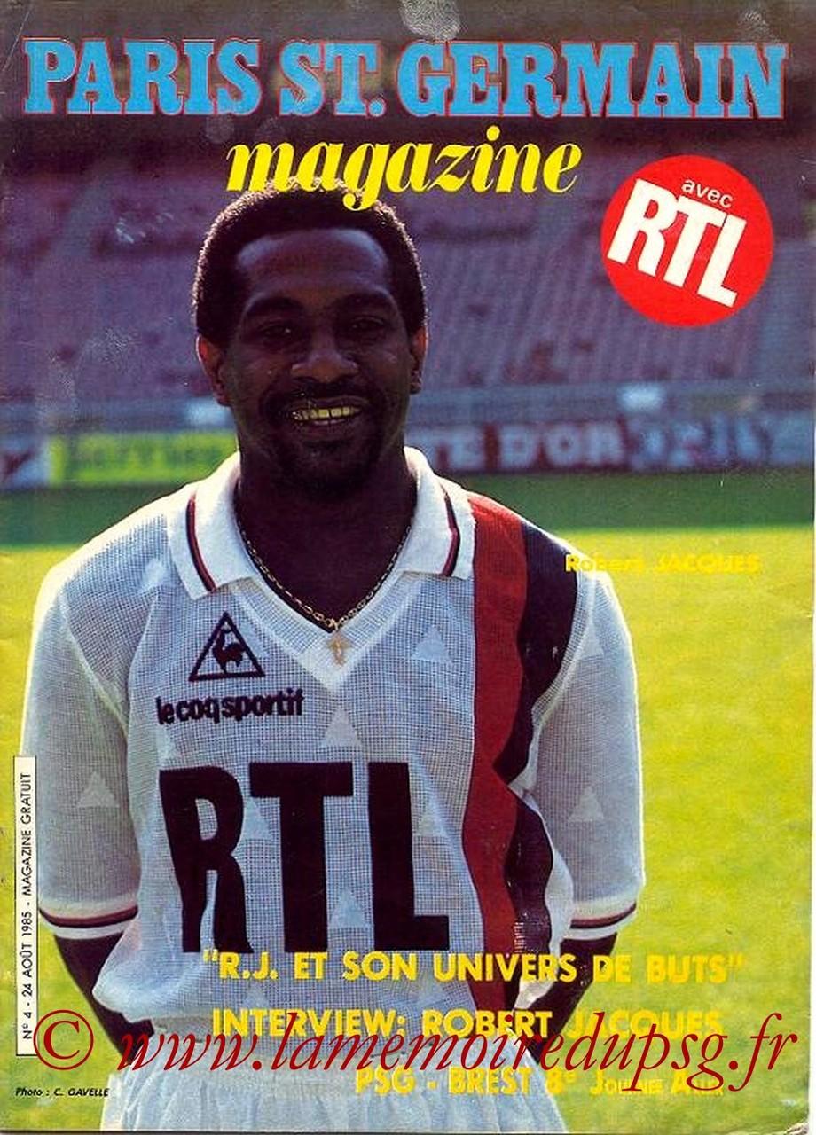 1985-08-24  PSG-Brest (8ème D1, Paris St Germain Magazine N°4)