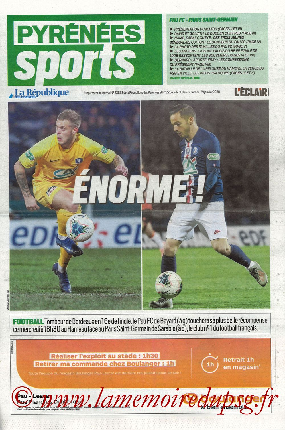 2020-01-29  Pau-PSG (8ème CF, Pyrenees Sports)