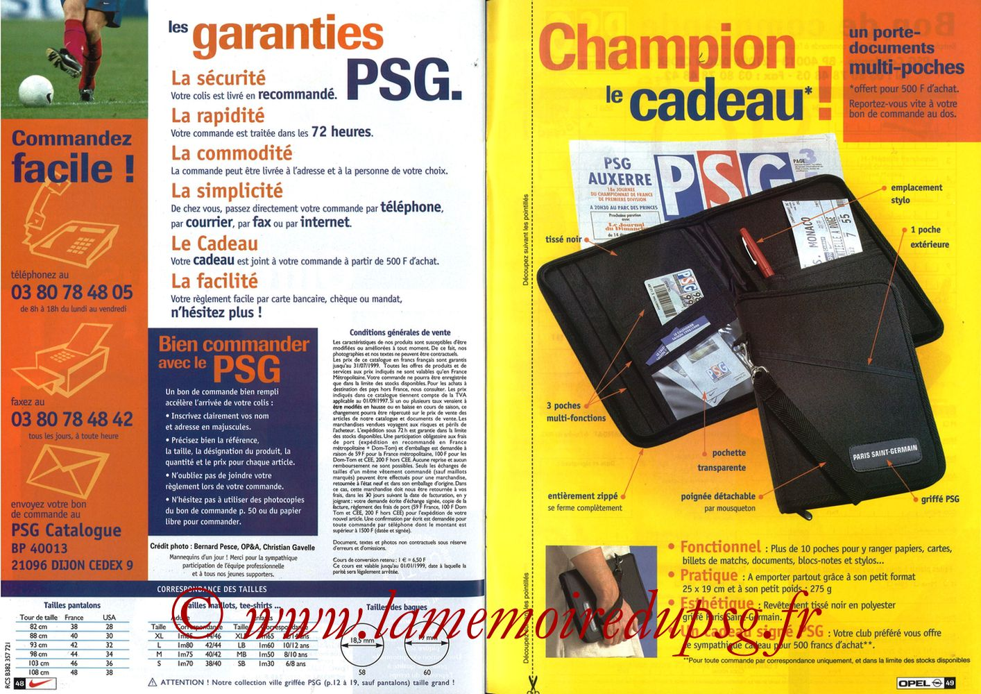 Catalogue PSG - 1998-99 - Pages 48 et 49