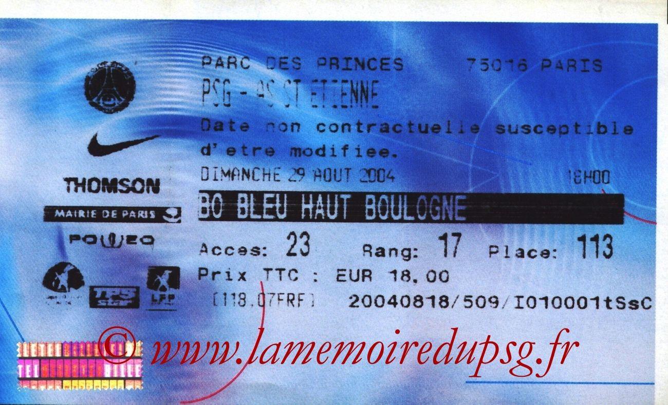 2004-08-29  PSG-Saint Etienne (4ème L1, Billetel)