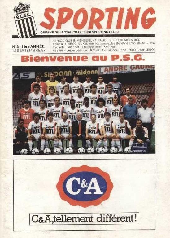 1987-09-15  Sporting Charleroi-PSG (Amical à Charleroi, Sporting N°3)