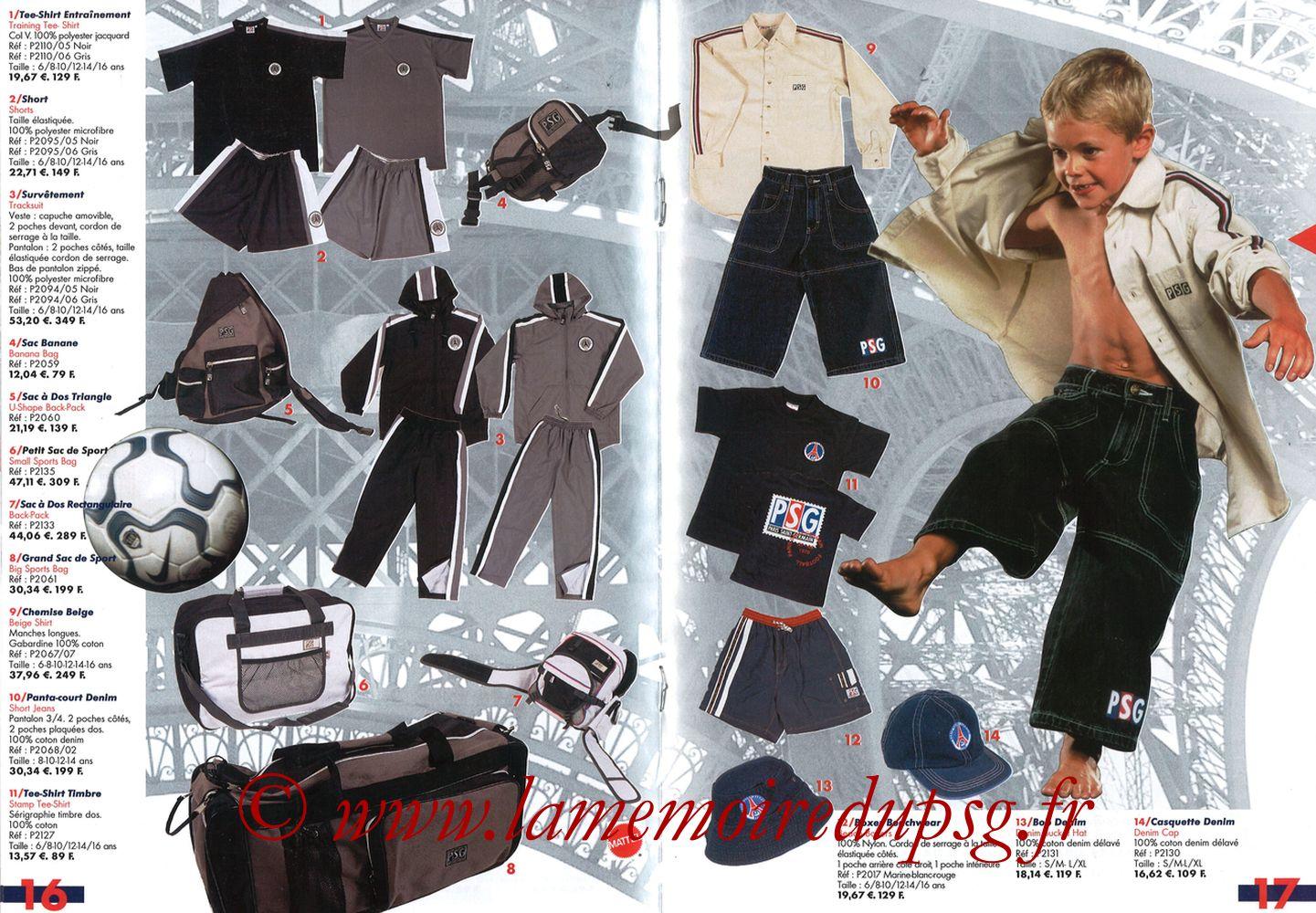 Catalogue PSG - 2001-02 - Pages 16 et 17