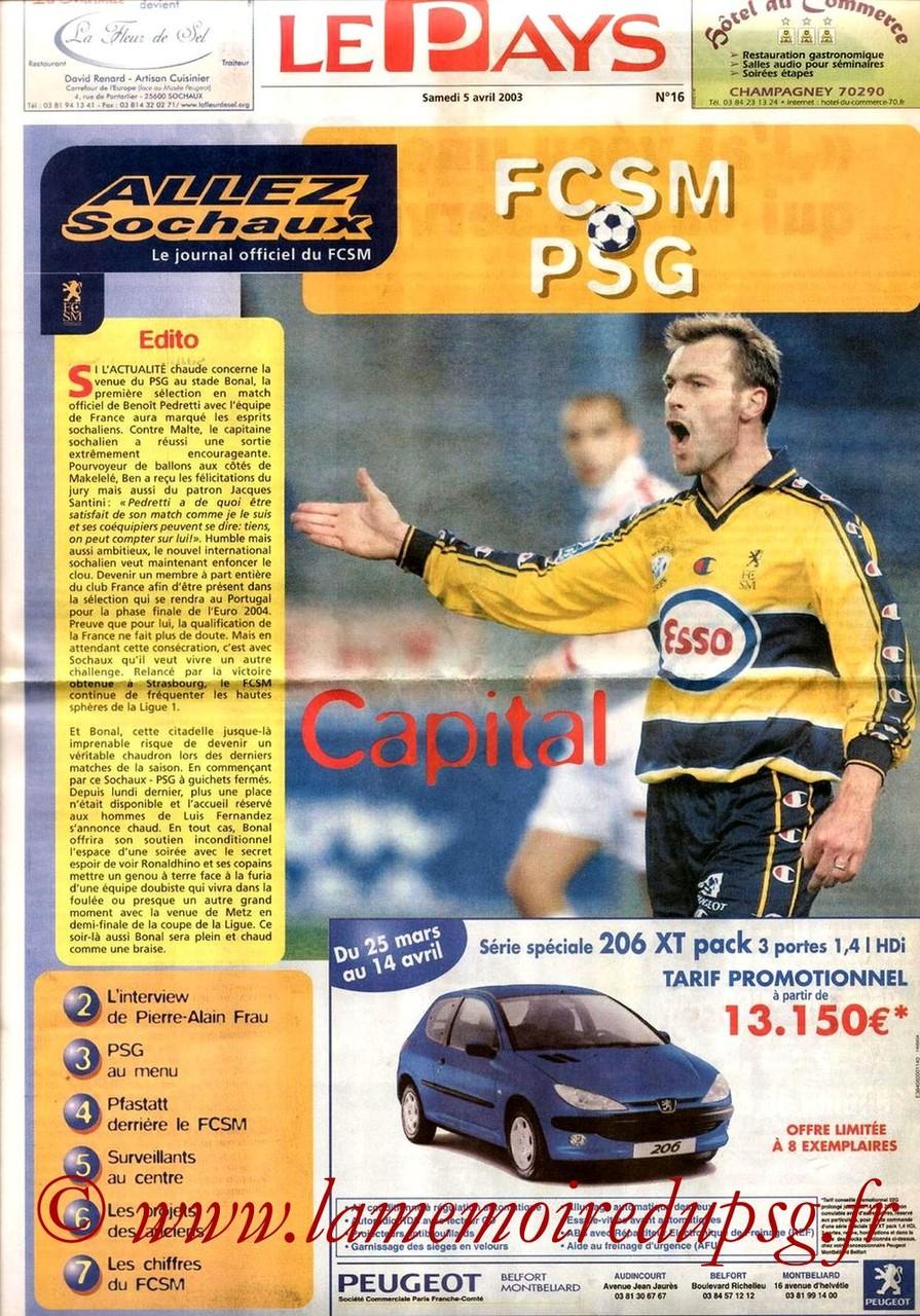 2003-04-05  Sochaux-PSG (32ème D1, Allez Sochaux N°16)