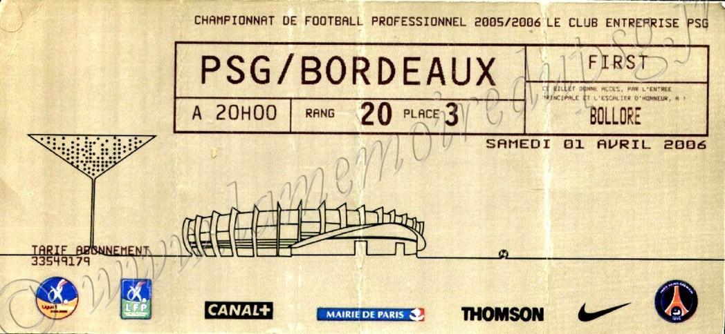 2006-04-02  PSG-Bordeaux (33ème L1, Club entreprise)