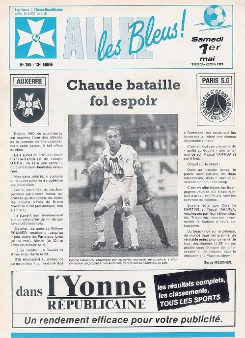 1993-05-01  Auxerre-PSG (33ème D1, Allez les Bleus N° 265)