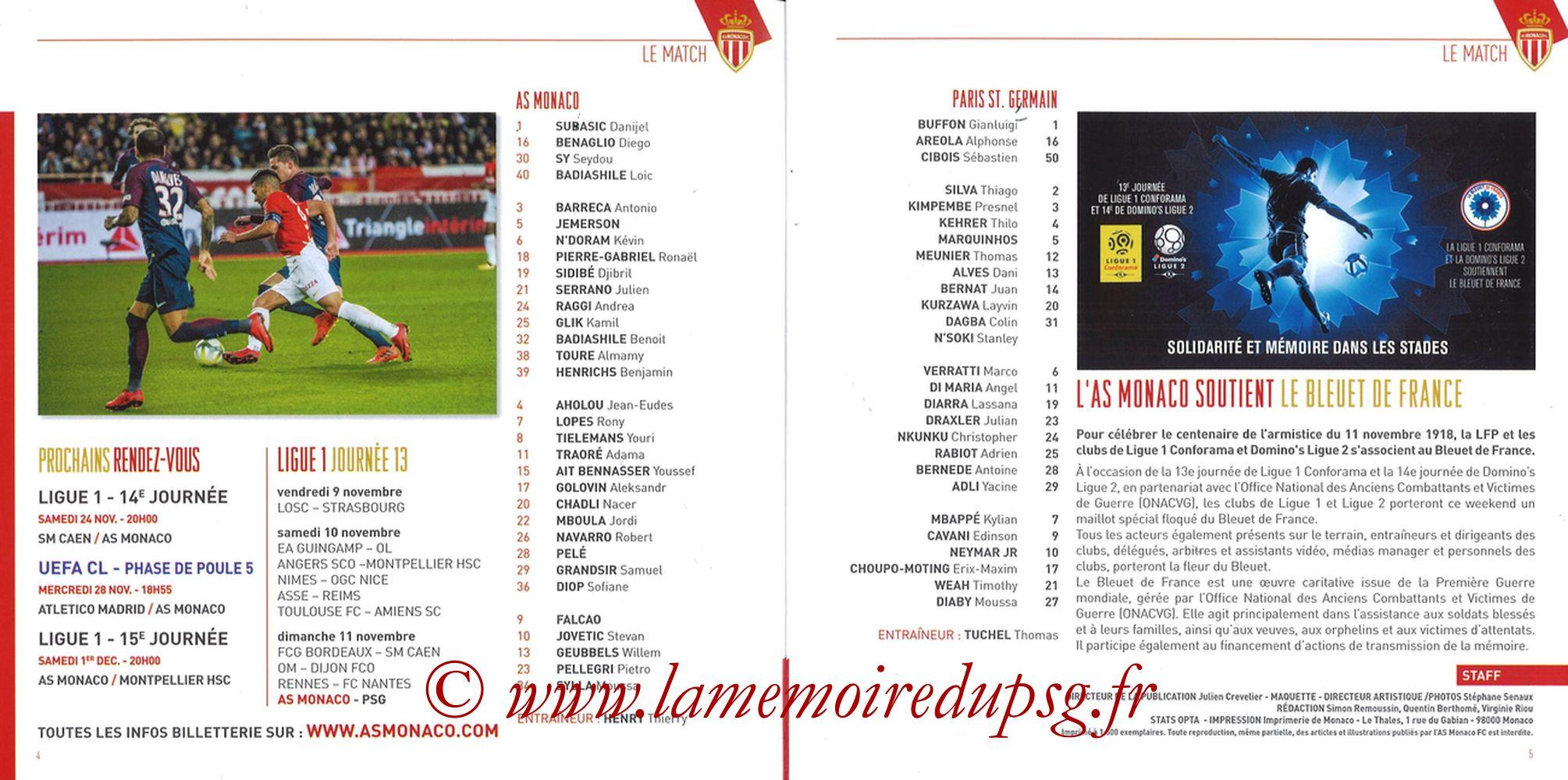2018-11-11  Monaco-PSG (13ème L1, Programme officiel) - Pages 04 et 05