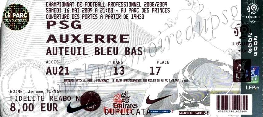 2009-05-16  PSG-Auxerre (36ème L1, bis)