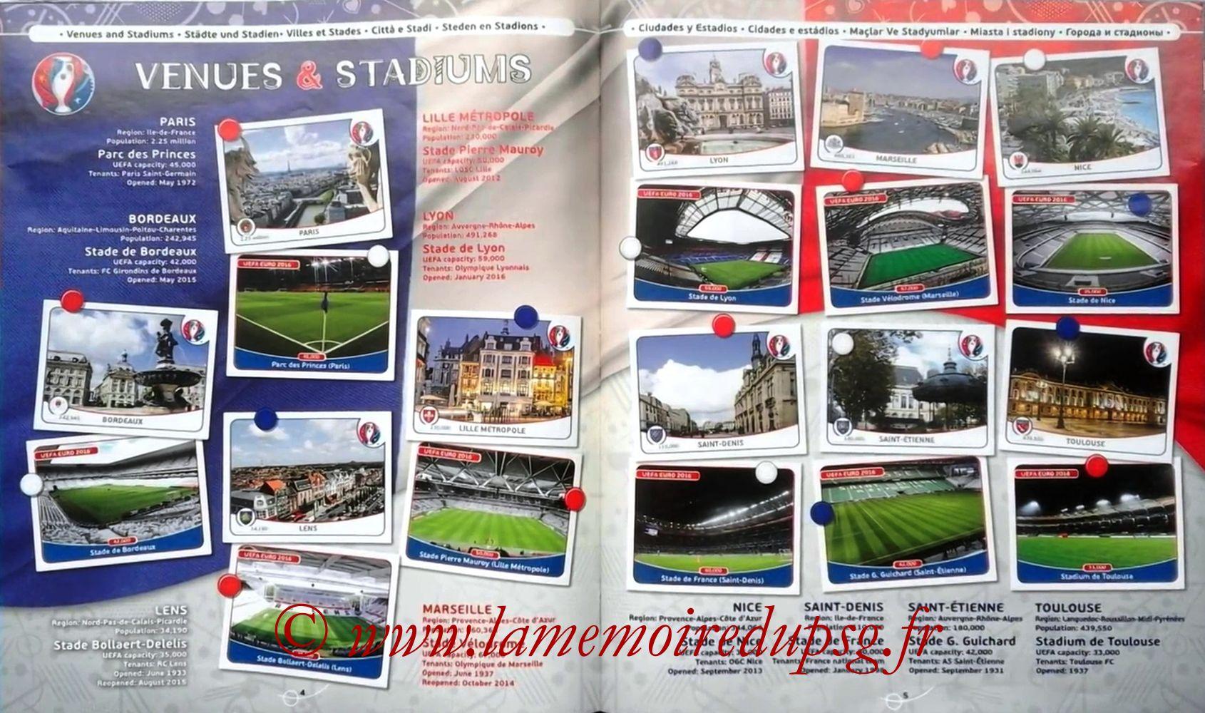 Panini Euro 2016 Stickers - Pages 04 et 05 - Villes et Stades