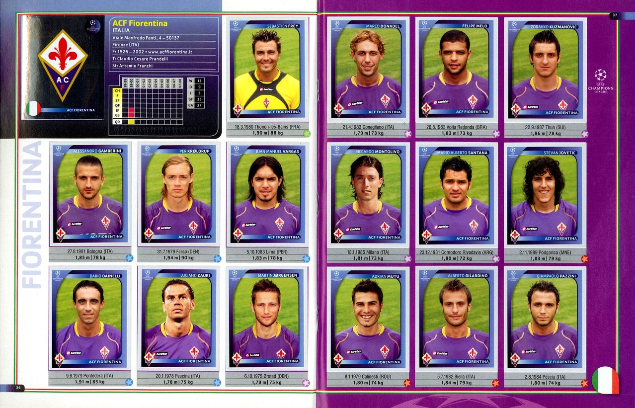 2008-09 - Panini Champions League - Pages 36 et 37 - ACF Fiorentina